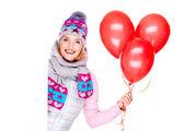 Mujer estadounidense feliz con globos rojos y banners — Foto de Stock