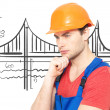 Portrait of thinking handyman — Stock Photo