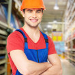 Professional handyman at store — Stock Photo