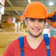 Professional handyman at store — Foto Stock