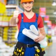 Handyman showing thumbs up sign — Stock Photo