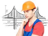 Portrait of thinking handyman — Stock Photo