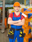 Portrait of handyman at warehouse — Stock Photo