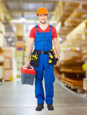 Handyman with tools full portrait — Foto Stock