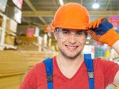Professional handyman at store — Stock Photo