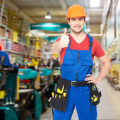 Professional worker with thumbs up — Foto Stock