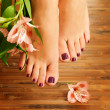 Female feet at spa salon — Stock Photo