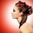 Beautiful woman with creative hairstyle — Stock Photo