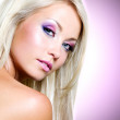 Portrait of the beautiful blond woman with pink makeup — Stock Photo #34314005