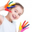 Happy pretty little girl with painted hands. — Stock Photo #41927447