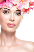 Beautiful face of  woman with healthy skin — Stok fotoğraf