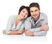 Portrait of happy couple isolated on white — Stock Photo