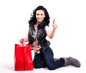 Portrait of smiling woman with shopping bags. — Stok fotoğraf