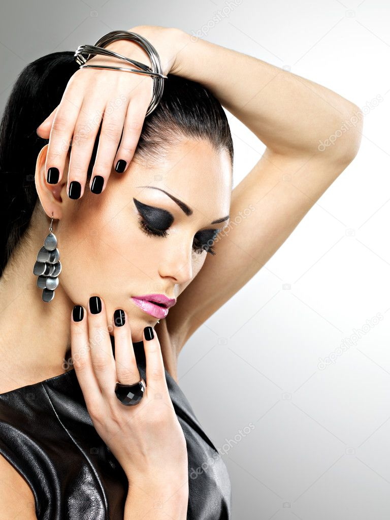 fashion sexy woman with black nails at pretty face. Pretty girl model ...
