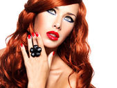 Beautiful fashionable woman with red nails — Stock Photo