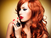 Beautiful sensual woman with long red hairs.  — Stock Photo