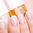 Beautiful woman's nails with french manicure — Stock Photo