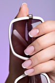 Woman's nails with beautiful french white manicure   — Stock fotografie