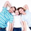 High angle portrait of caucasian happy smiling young family — Stock Photo #43174887