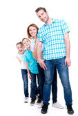 Full portrait of the happy european family with children — Stok fotoğraf