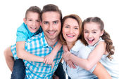 Portrait of the happy european family with children — Stok fotoğraf
