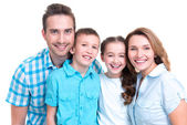 Portrait of the happy european family with children — Stock Photo