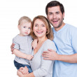 Portrait of the happy family with little child. — Stock Photo