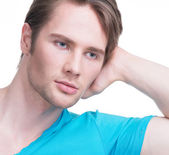 Close-up portrait of young attractive man. — Stockfoto