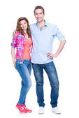 Full portrait of happy young couple. — Stock Photo