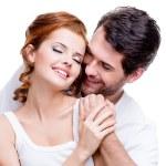 Closeup portrait of beautiful smiling couple. — Stock Photo #47297757