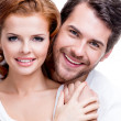 Closeup portrait of beautiful smiling couple. — Stock Photo #47297971