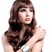 Young woman with long brown hairs. — Stock Photo