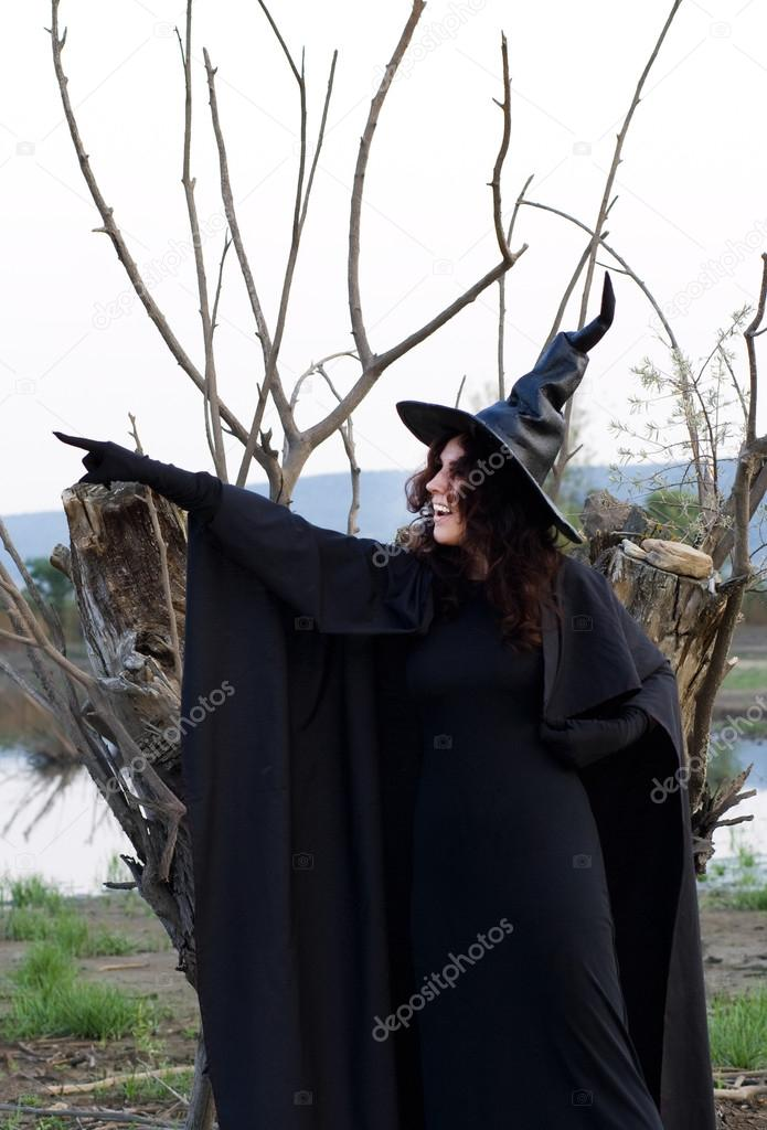 Halloween witch against the background of dried wood and marsh — Stock Photo #12494135
