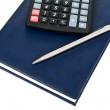 Calculator pen and notebook — Stock Photo