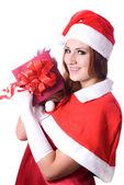 Pretty Santa girl portrait — Stock Photo