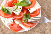Salad with tomatoes and cheese — Stock Photo