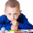 The boy is sad thinking about school — Stock Photo