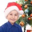 Boy in santa hat — Stock Photo