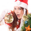 Santa woman with clock — Stok fotoğraf