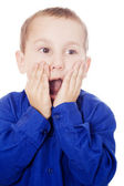 Boy with surprised or shocked expression — Stock Photo