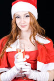 Beautiful young woman on santa hat — Foto Stock