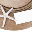 Straw hat and starfish and blank — Stock Photo #51728233