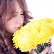 Beautiful woman with chrysanthemums — Stock Photo #7258946