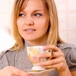 Woman drinking coffe — Stock Photo #7307427