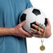 Royalty-Free Stock Photo: Man with classic soccer ball