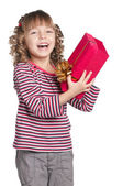 Little girl with gift box — Stock Photo