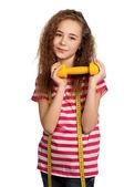 ダンベルを持つ少女 — ストック写真