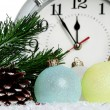 Stock Photo: Baubles with clock