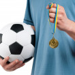 Man with classic soccer ball — Stockfoto