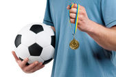 Man with classic soccer ball — Stock Photo